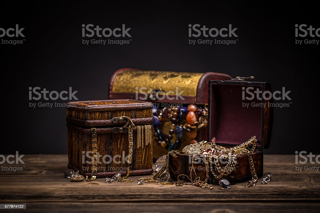 Chest with jewelry stock photo