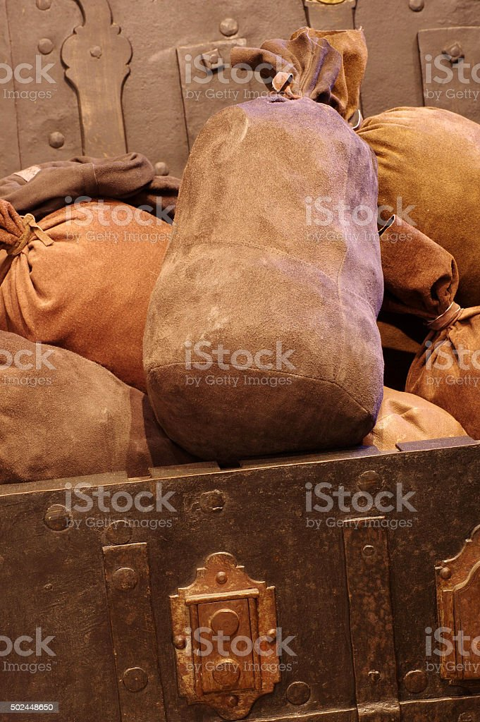 Chest with money vintage stock photo