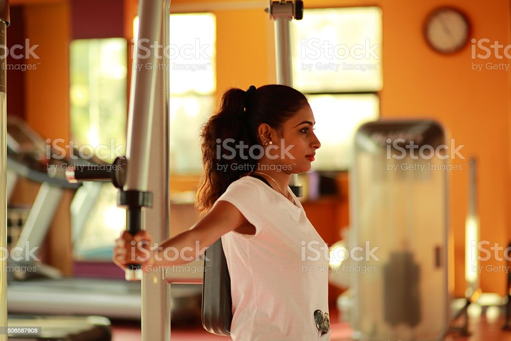Chest workout in Gym stock photo