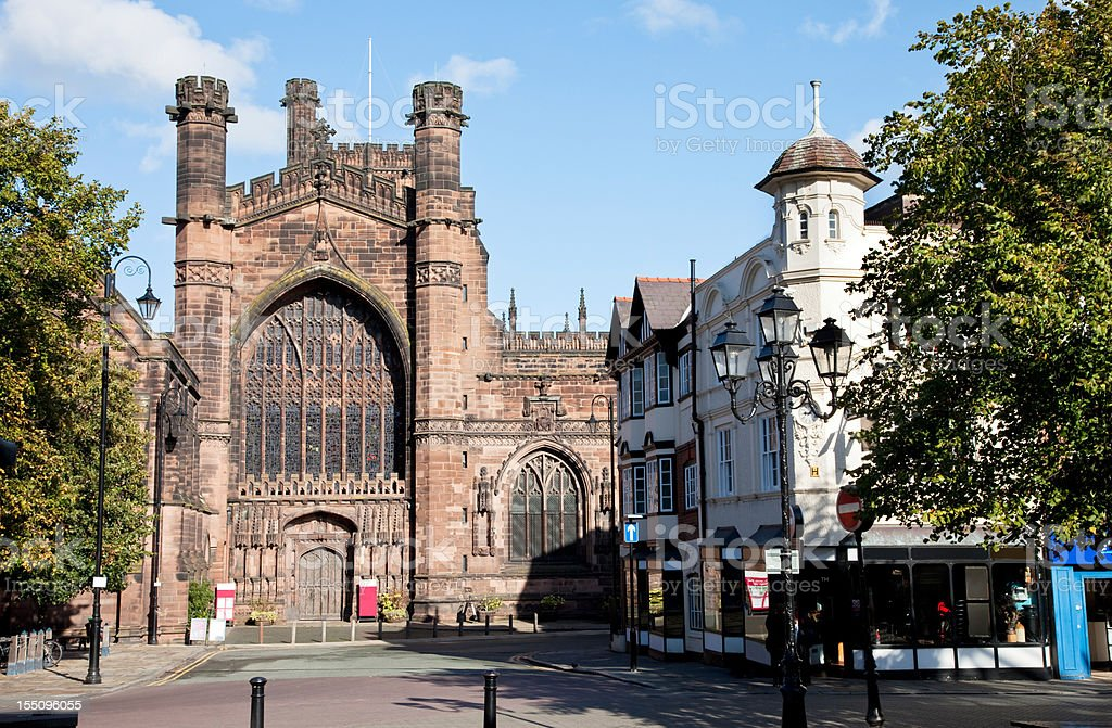 Chester Cathedral Entrance from St. Werburgh's Street stock photo