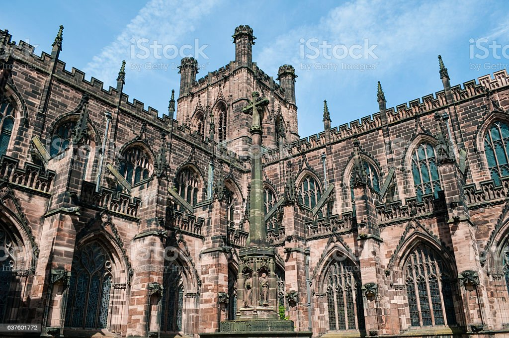 Chester Cathedral, south-west exterior, Chester, UK stock photo