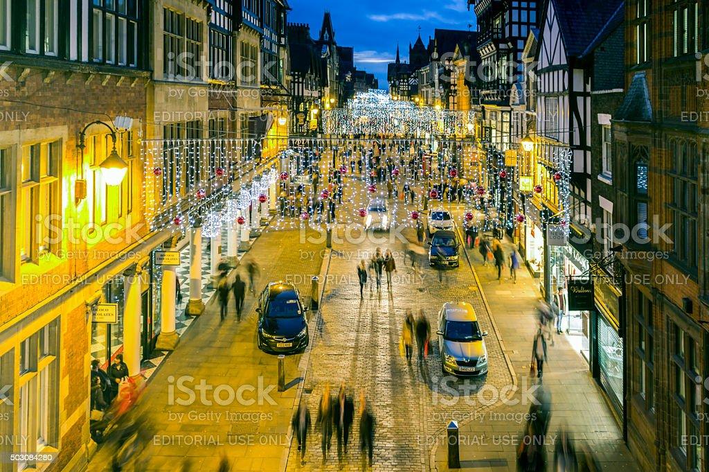 Chester Christmas Shopping stock photo