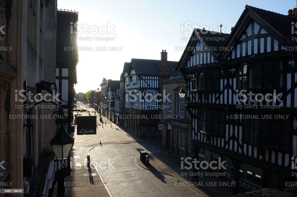 Chester City Centre at dawn stock photo