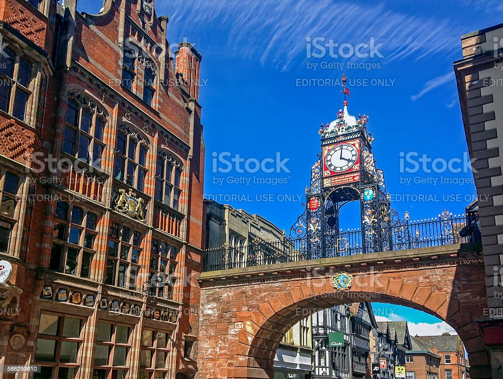 Chester Clock Over Chester Walls stock photo