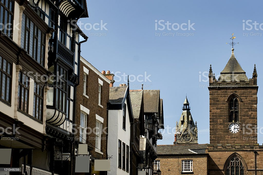 Chester Clock Towers and Victorian Era Buildings royalty-free stock photo