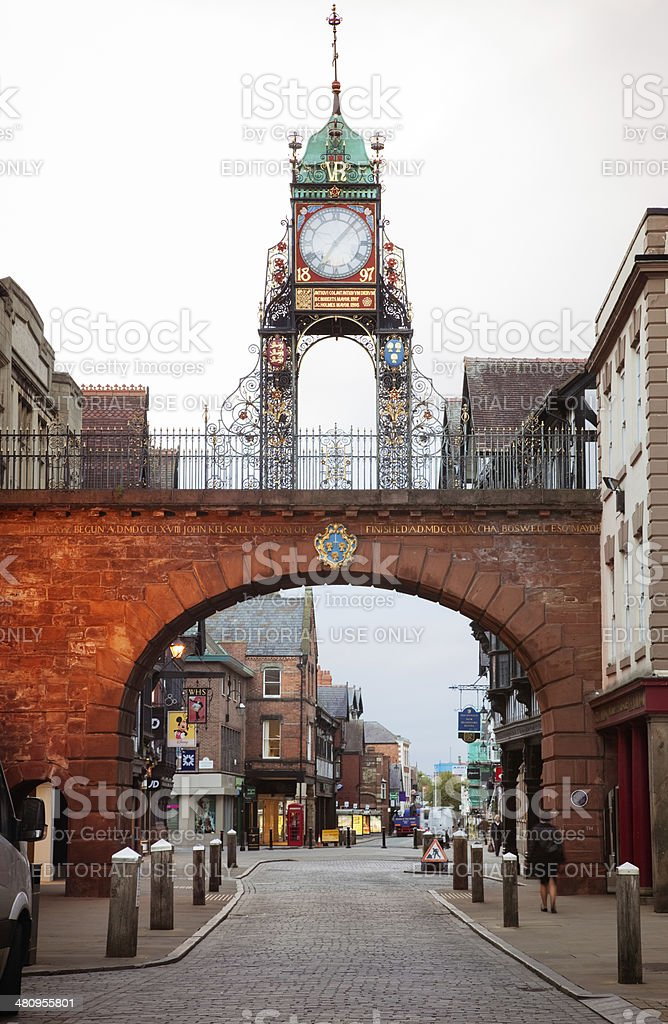 Chester Eastgate clock and street early morning stock photo