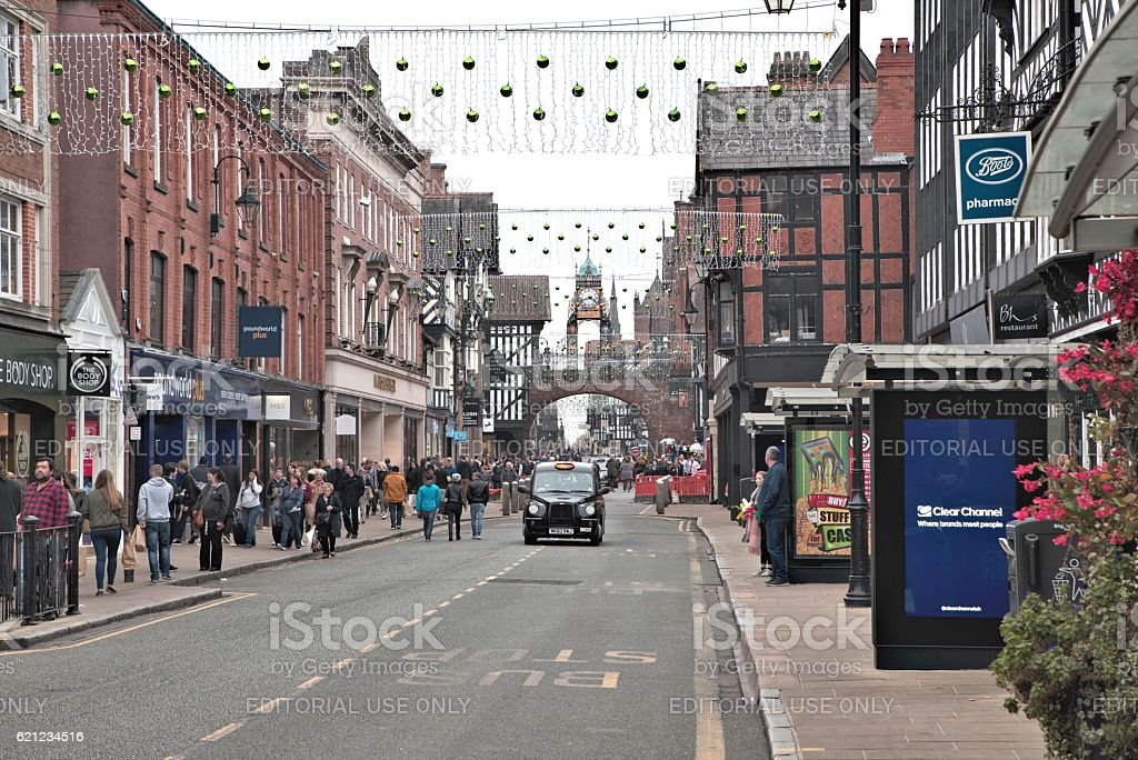 Chester Foregate street stock photo