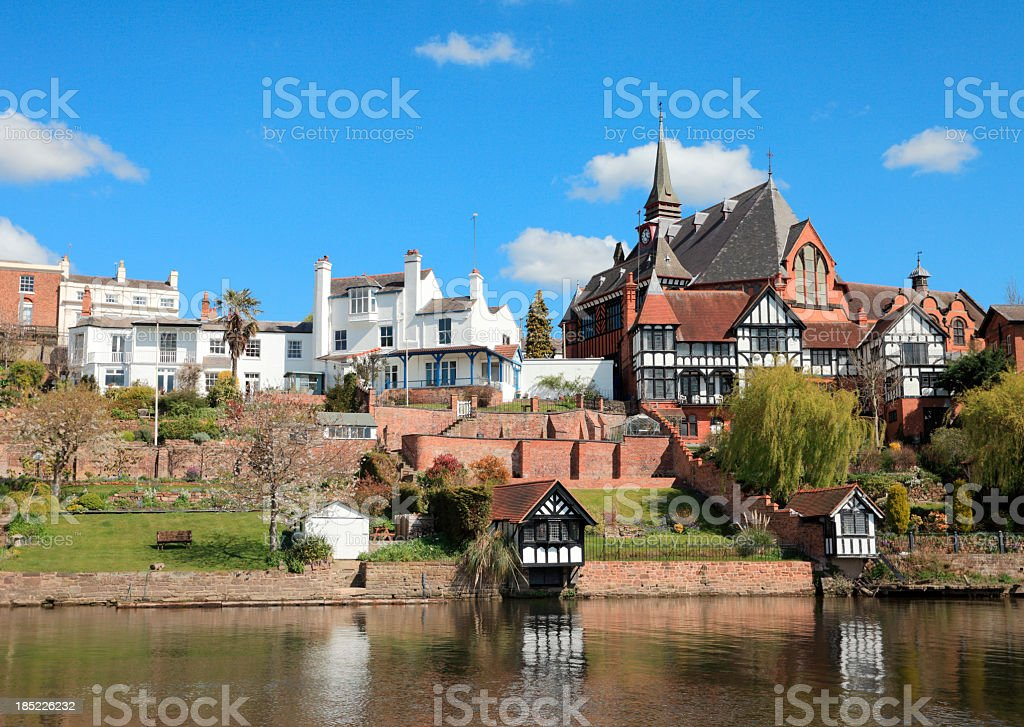 Chester homes by River Dee stock photo