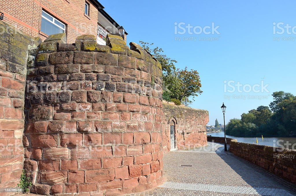 Chester Roman Walls and River Dee Footpath royalty-free stock photo