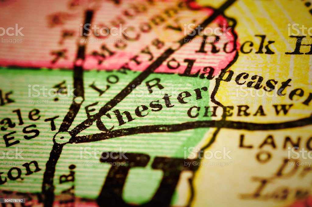 Chester, South Carolina on an Antique map stock photo
