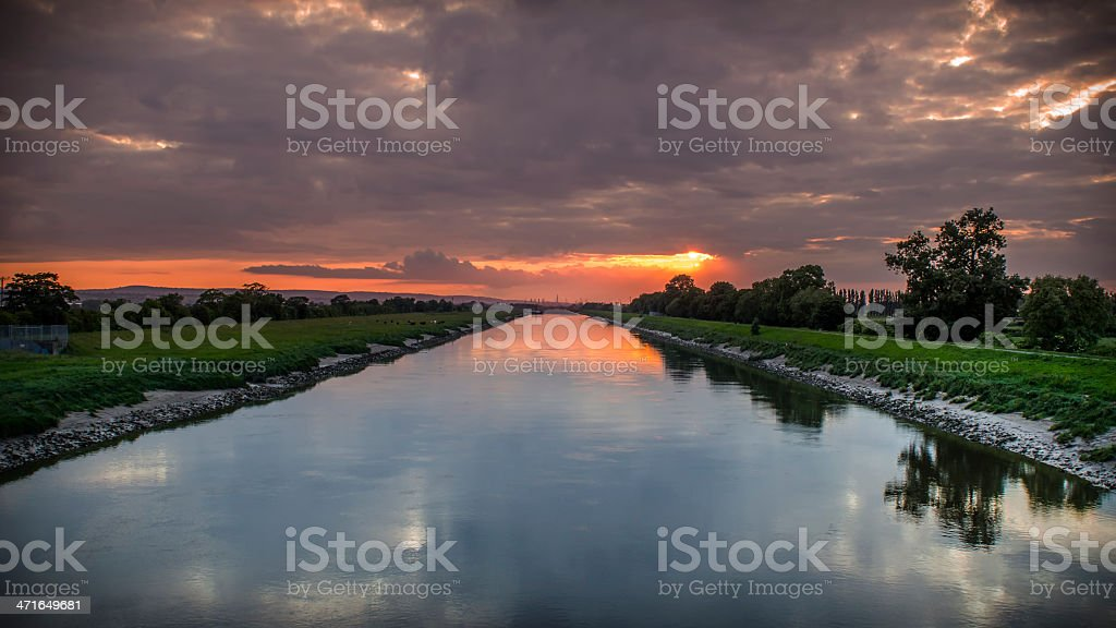 Chester sunset over the River Dee royalty-free stock photo