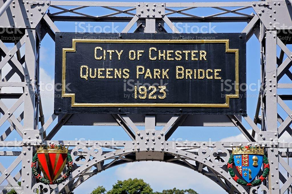 Chester suspension bridge name plaque. stock photo