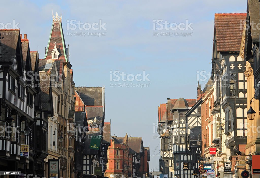 Chester Tudor buildings in Cheshire, UK stock photo