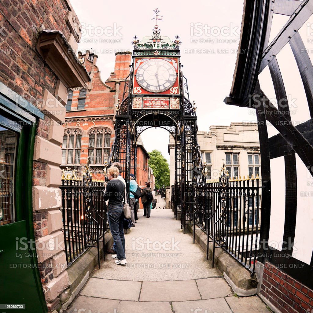 Chester Victorian Clock landmark stock photo
