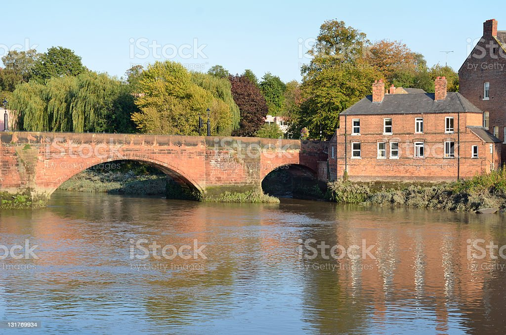 Chester's Old River Dee Bridge and Victorian House royalty-free stock photo
