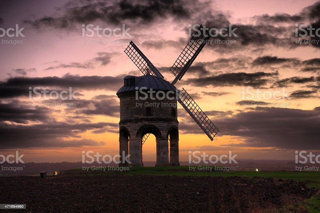 Chesterton Windmill at sunset stock photo