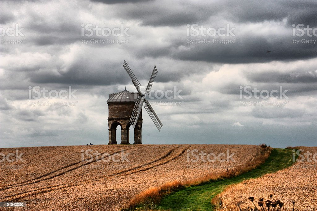 Chesterton Windmill under a moody cloudy sky stock photo