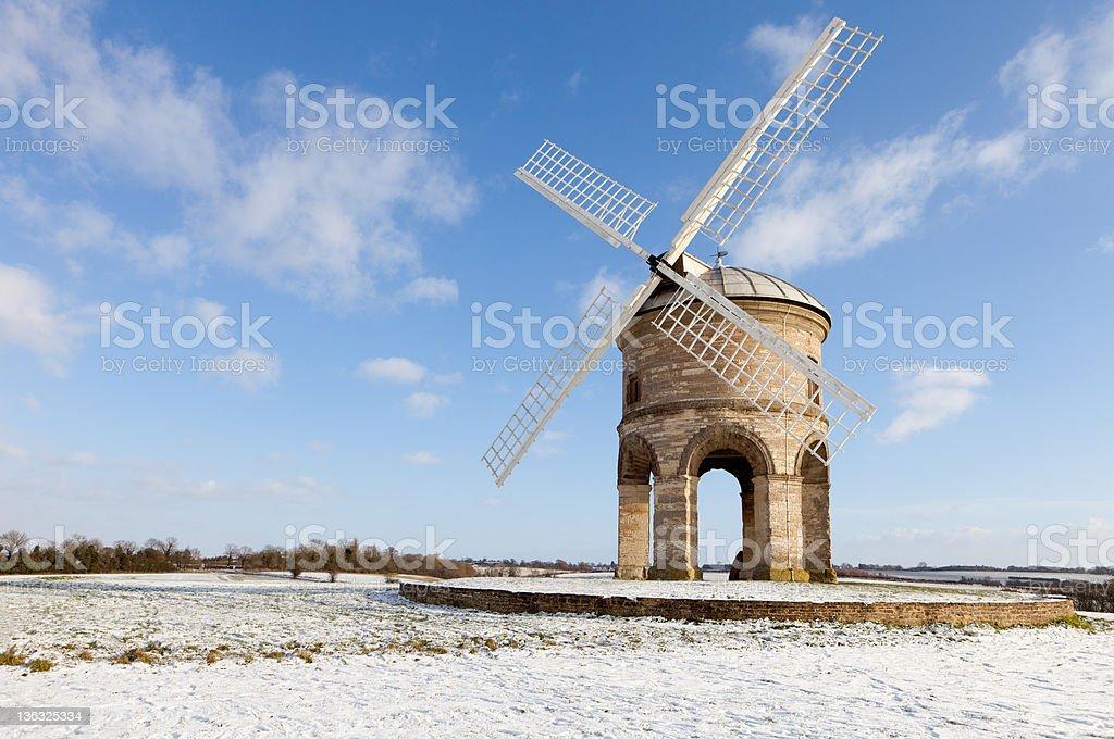 Chesterton Windmill, Warwickshire, England, winter scene stock photo