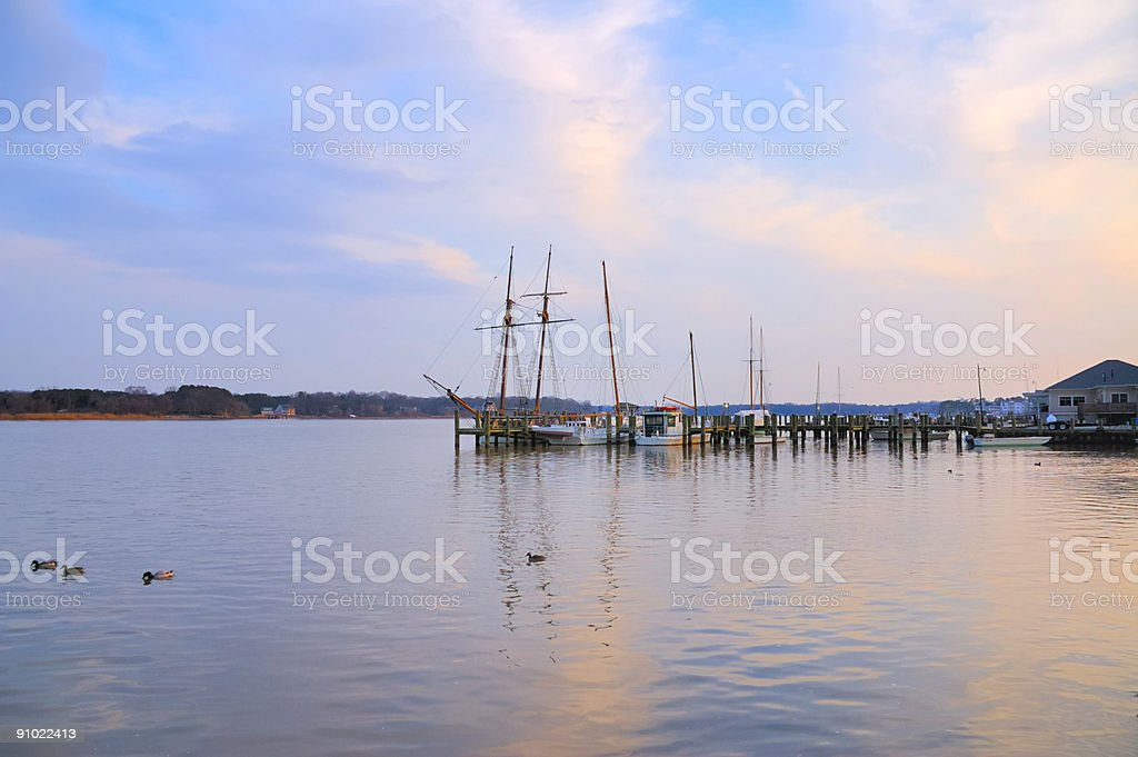 Chestertown Dock With Sailboats at Dusk stock photo