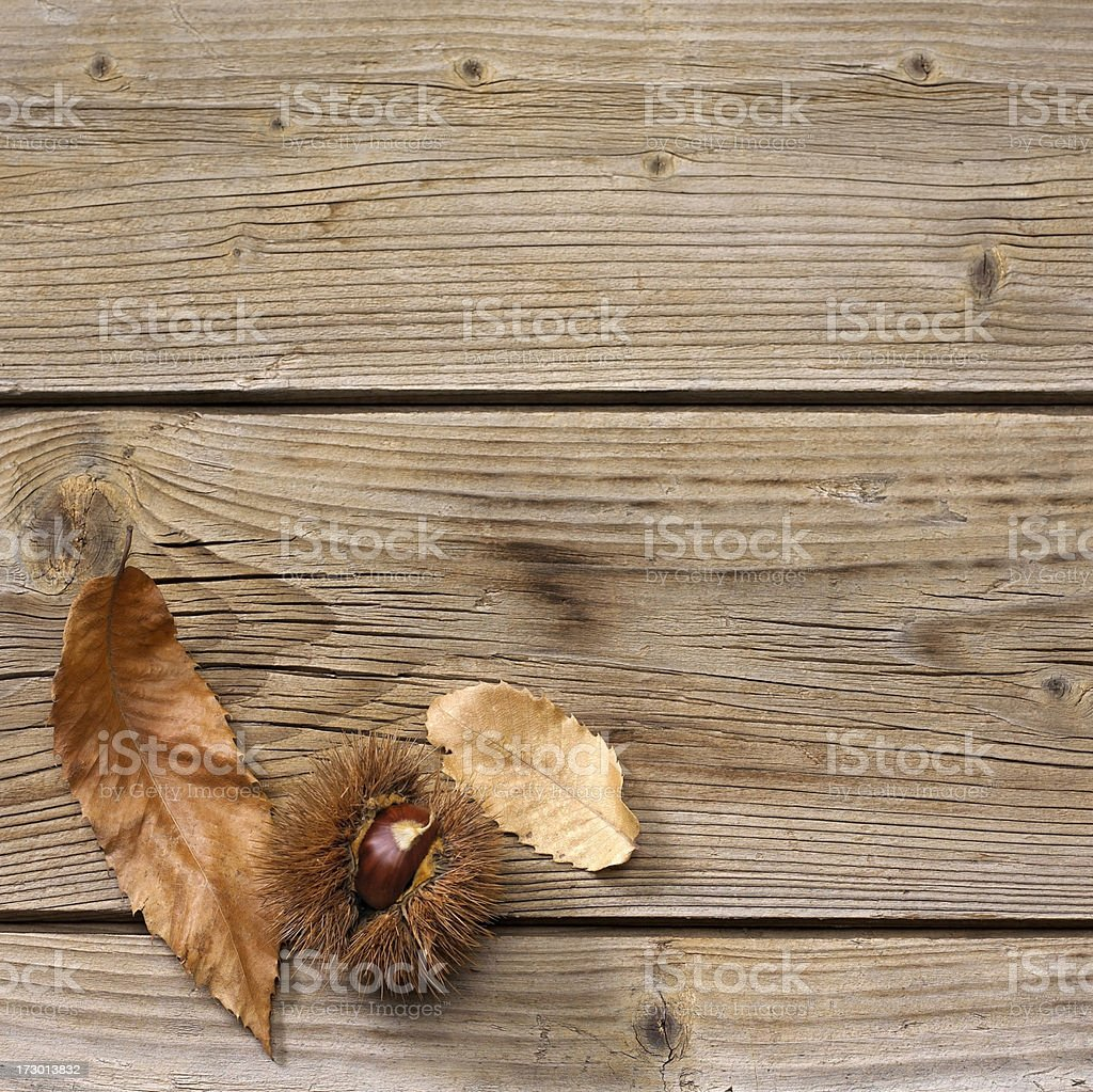 Chestnut and leaves on a wooden surface royalty-free stock photo