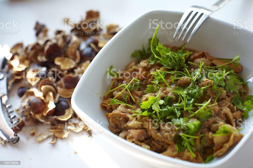 Chestnut and wild chanterelle mushrooms stock photo