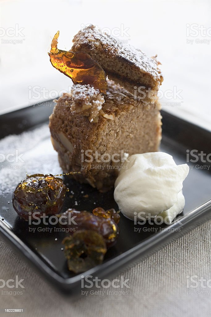 chestnut cake with candied chestnuts and whipped cream royalty-free stock photo