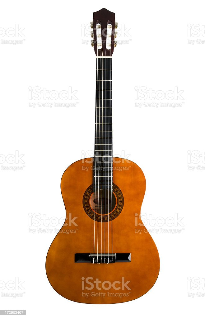 Chestnut colored 6-string acoustic guitar stock photo