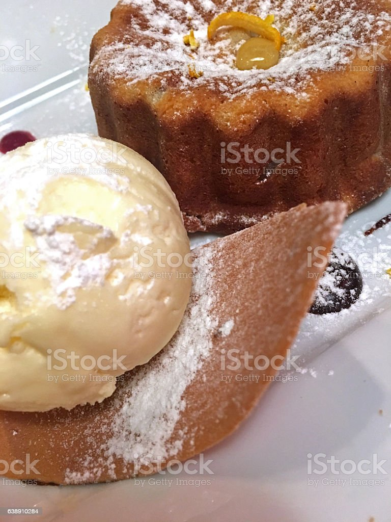 Chestnut souffle and ice cream stock photo