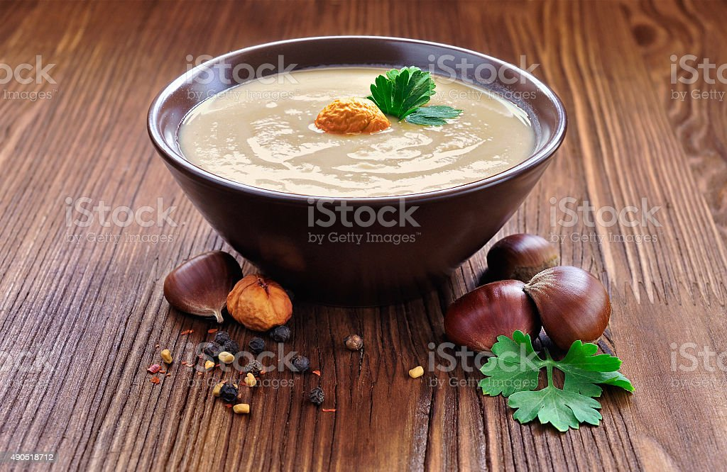 Chestnut soup stock photo