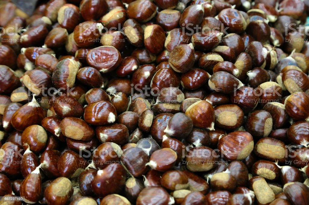 chestnuts fruits background stock photo