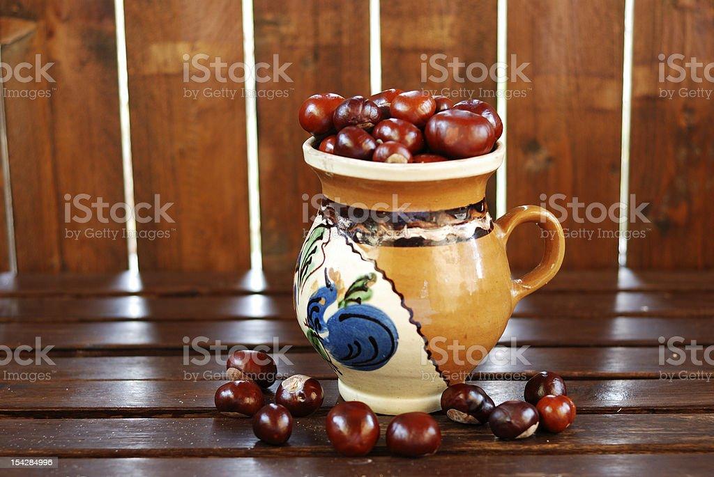 Chestnuts on pot royalty-free stock photo