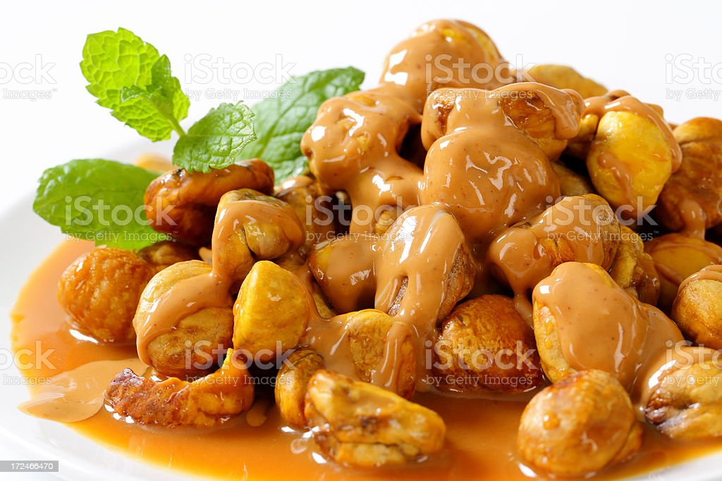 chestnuts with sauce stock photo