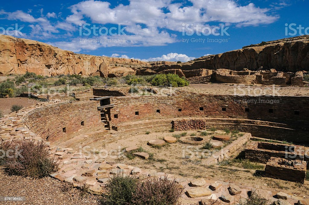 Chetro Ketl Great Kiva Wide View stock photo