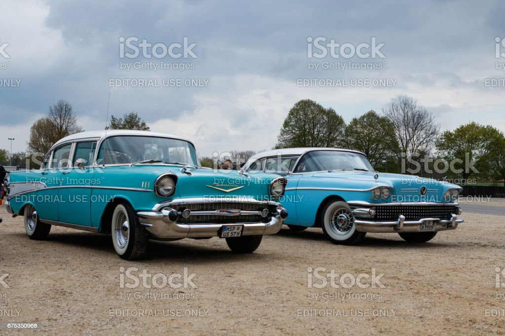 Chevrolet Bel Air and Buick Special at the MotoTechnika oldtimer meeting on April 29, 2017 in Nordlingen, Germany stock photo