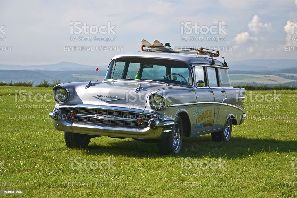 Chevrolet Bel Air on the grass stock photo