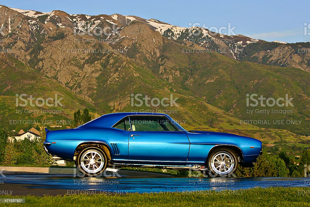 1967 Chevrolet Camaro SS at Rest with Mountainous Background stock photo