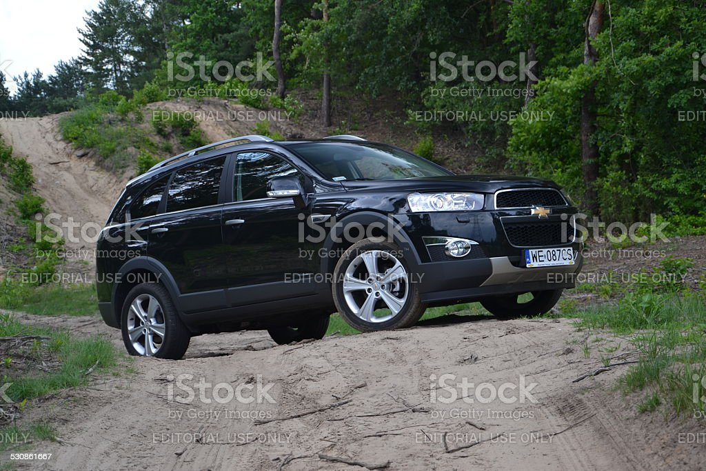 Chevrolet Captiva in the forest stock photo