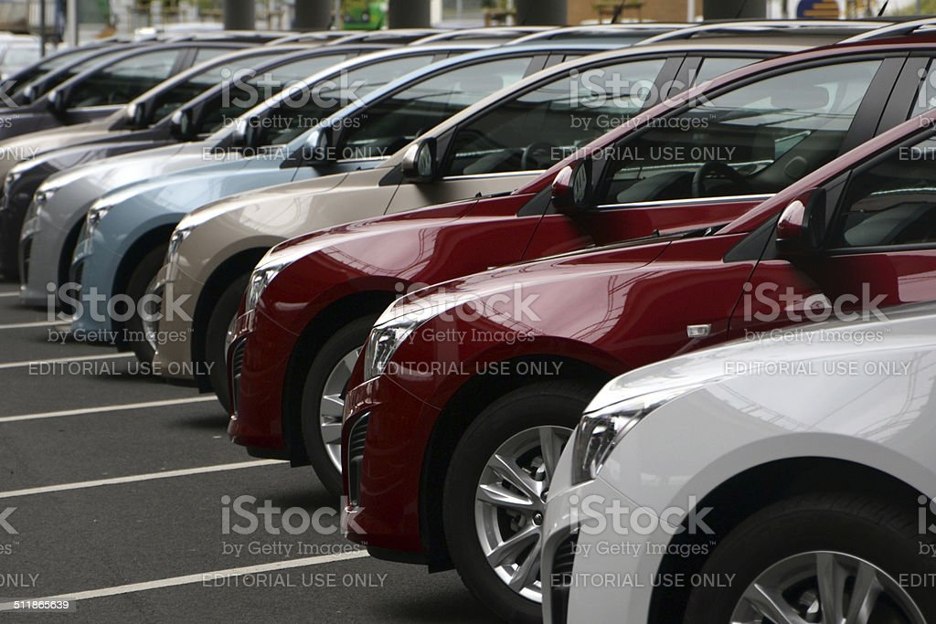 Chevrolet cars in a row stock photo