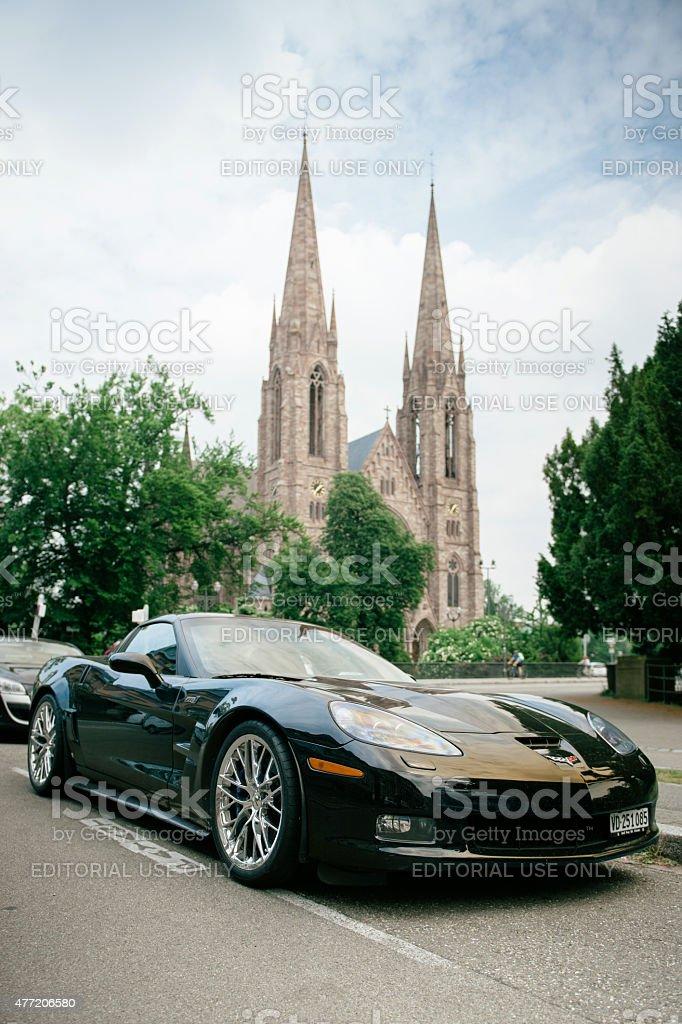 Chevrolet Corvette ZR 1 luxury sport car parked stock photo
