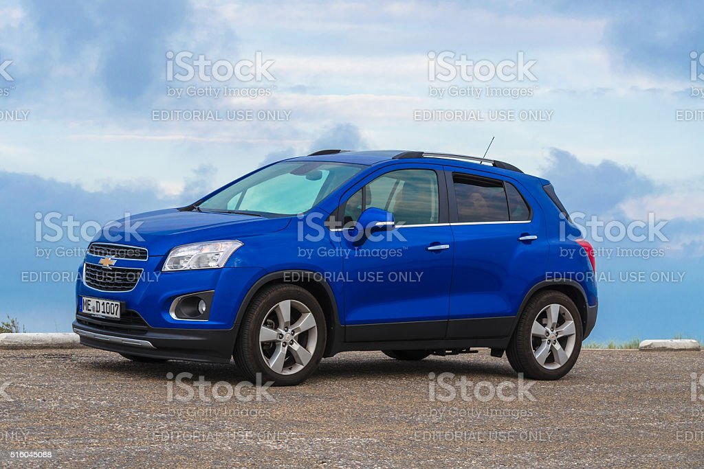 Chevrolet Trax in the dunes. stock photo