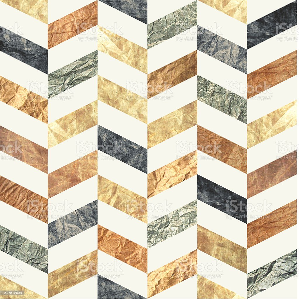 Chevron seamless pattern (brown, beige, grey, blue) distressed paper texture stock photo