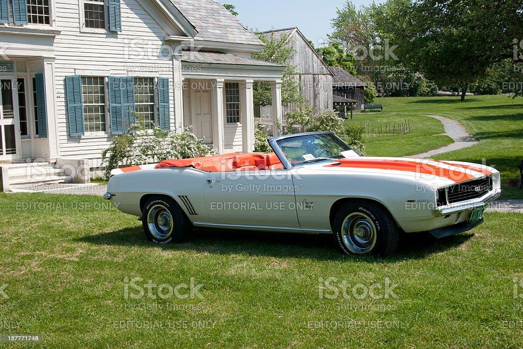 Chevy 1969 Camaro Orange and White Convertible stock photo