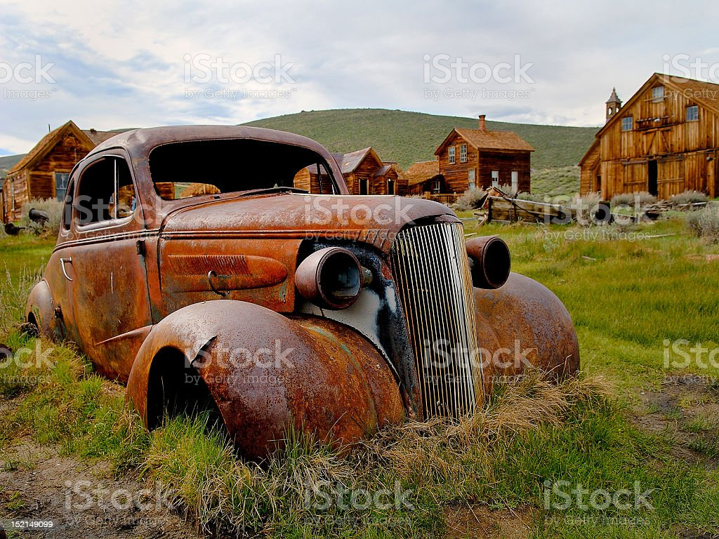 '37 Chevy at Bodie Historical Park, CA stock photo