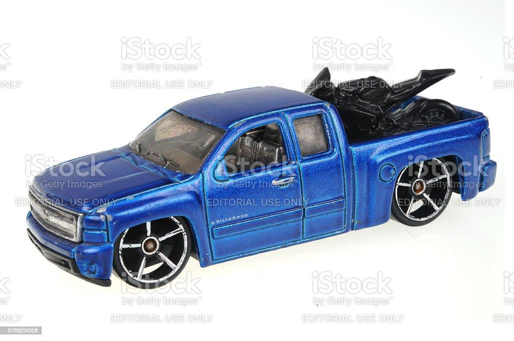 2007 Chevy Silverado Hot wheels Diecast Toy Car stock photo