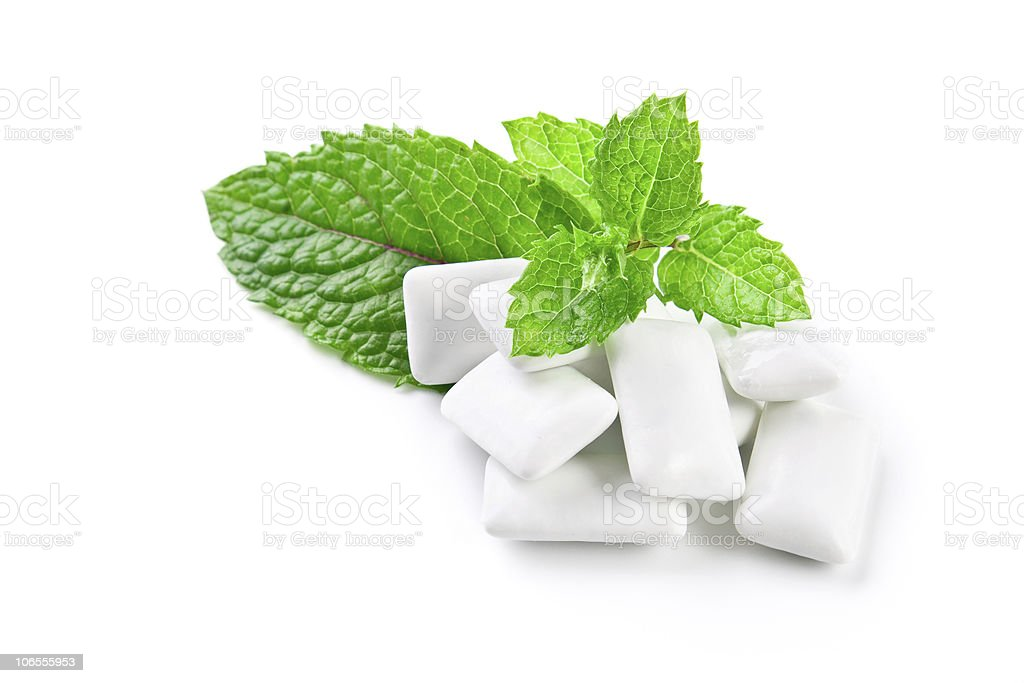 Chewing gum and mint royalty-free stock photo
