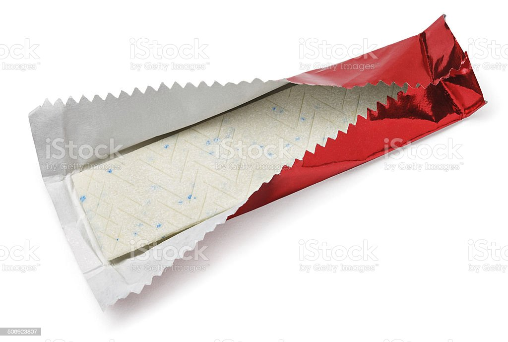 Chewing gum plate in red foil on white stock photo