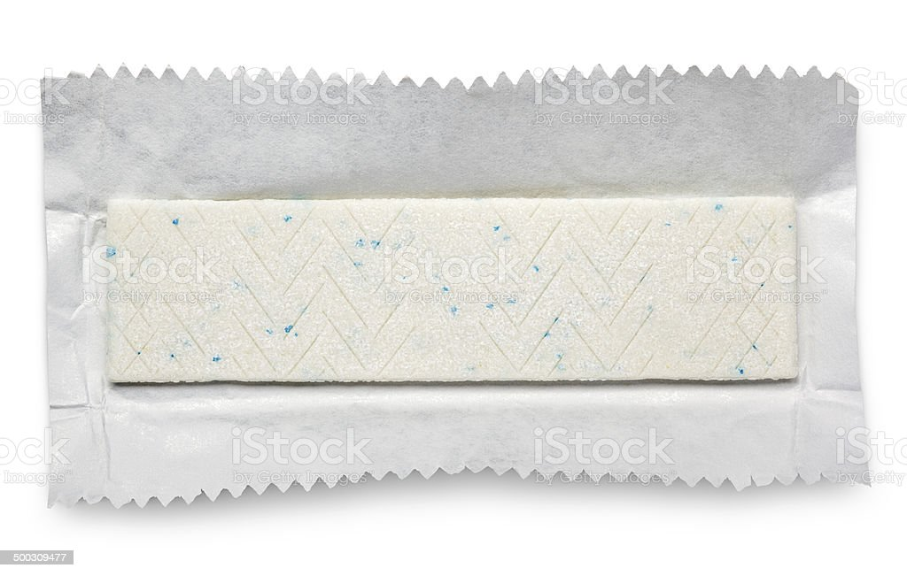 Chewing gum plate on wrapping paper stock photo