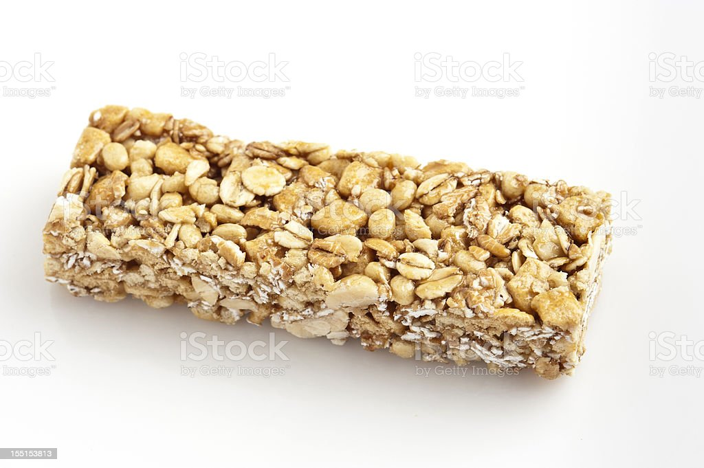 Chewy peanut butter granola bar stock photo
