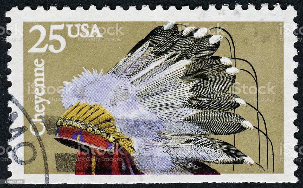 Cheyenne Headdress Stamp stock photo