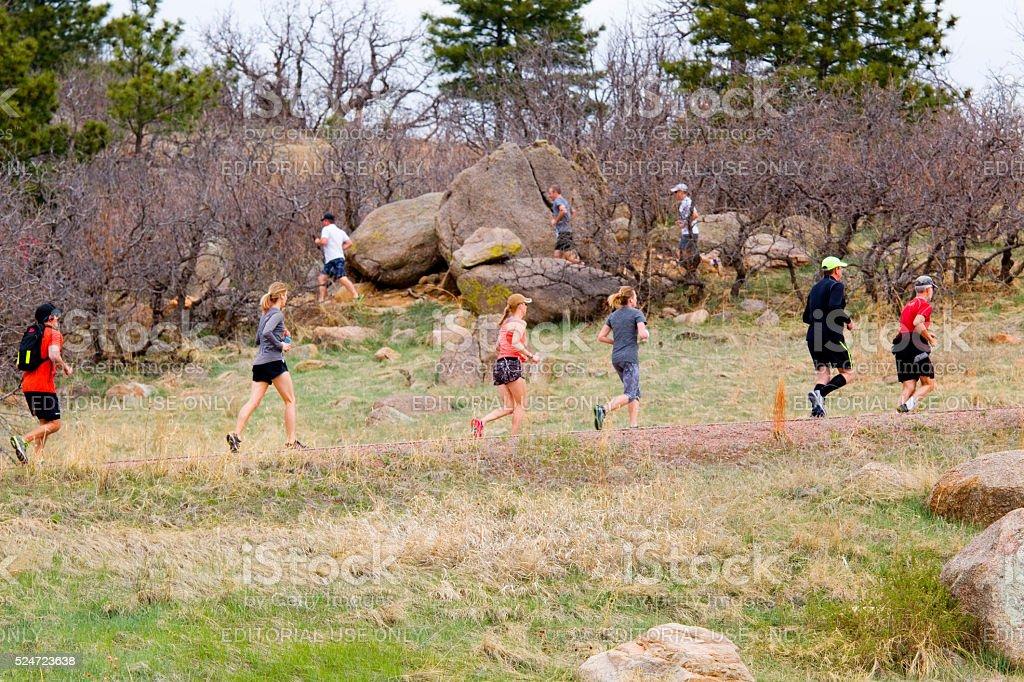 Cheyenne Mountain Trail Race Colorado Springs stock photo